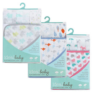 Ideal Baby Muslin + Terry Hooded Towel and Washcloths Set (Choose Your Color)