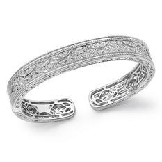 0.25 CT.TW. Diamond Vintage Style Hinged Bangle Bracelet in Sterling Silver (IGI Appraisal Value: $465.00)