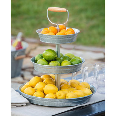 Three-Tier Galvanized Metal Stand