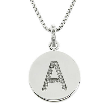 Diamond Initial Pendant In Sterling Silver—Available in A-Z