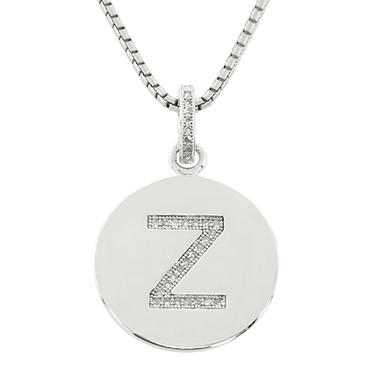 Diamond Initial Pendant In Sterling Silver?Available in A-Z