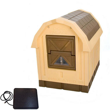 ASL Solutions Deluxe Insulated Dog Palace with Floor Heater, Brown (38.5