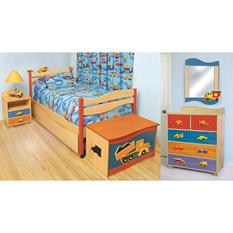 Boys Like Trucks Bedroom Set - 6 pc. - Natural