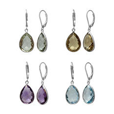 Four-Pair Set of Genuine Gemstone Earrings in Sterling Silver