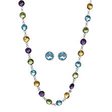 Multi-Gemstone Necklace and Earring Set in Sterling Silver