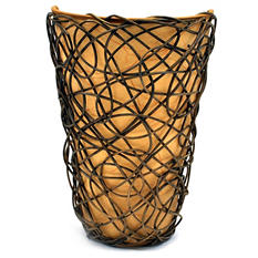 "White Shade With Black Wicker and Flicker Wireless Sconce - 11.25"" Tall"