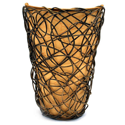 """White Shade With Black Wicker and Flicker Wireless Sconce - 11.25"""" Tall"""