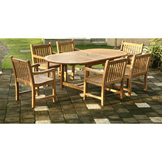Piemonte Teak Oval Extendable Dining Set - 7 pc.