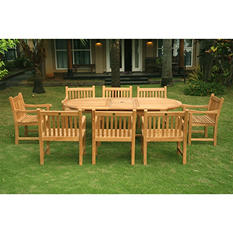 Piemonte Teak Oval Extendable Dining Set - 9 pc.