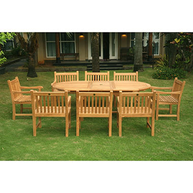 Grade A - Piemonte Teak Oval Extendable Dining Set - 9 pc.