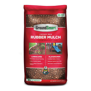 GroundSmart Rubber Mulch - Cedar Red 78.4 cubic feet (.8cuft Bags)