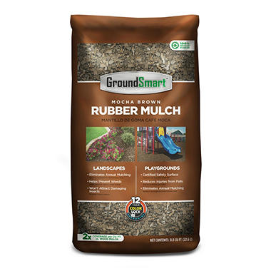 GroundSmart Rubber Mulch - Mocha Brown 78.4 cubic feet (.8cuft Bags) - Original Price $799, Save $100