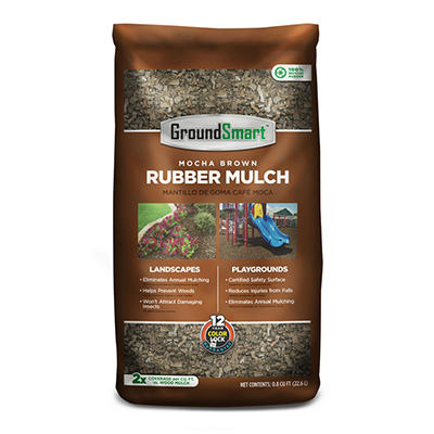 GroundSmart Rubber Mulch - Mocha Brown 78.4 cubic feet (.8cuft Bags)
