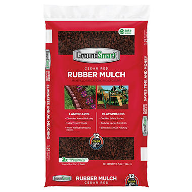 GroundSmart Rubber Mulch-Cedar Red1.25cuft (60 Bags)
