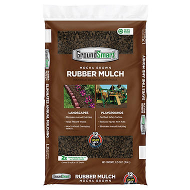GroundSmart Rubber Mulch - Mocha Brown 1.25 cu. ft. Bag (60 Bags)