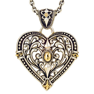 Filigree Heart Pendant in Sterling Silver and 14K Yellow Gold