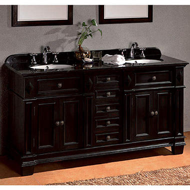 Ove Decors Essex Double Vanity with Black Granite Countertop