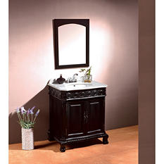 Ove Decors Trent 30in Vanity in Antique Black with Marble Top