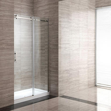 OVE Decors 40in Shower Kit with Base & Glass Panels - Acrylic White