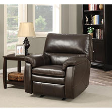 Crawford Top-Grain Leather Recliner with USB Ports