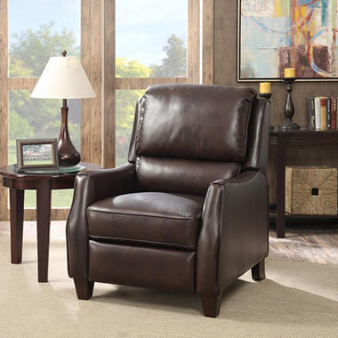 Wallace Top Grain Leather Push Back Recliner Sam S Club