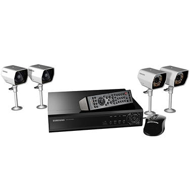 Samsung Security System with 4-Channel DVR & 4 Cameras