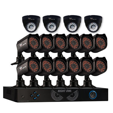Night Owl 16 Channel Security System with 1TB Hard Drive, 12 600TVL Cameras, 4 Indoor Dome Cameras, 50' Night Vision