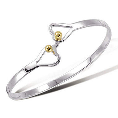 Sterling Silver Double Heart Bracelet with 18K Yellow Gold Accents