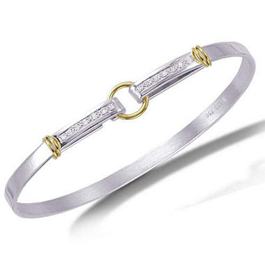 Sterling Silver & 18K Yellow Gold Circle Hook Bangle with Diamonds