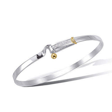 Sterling Silver, 18K Yellow Gold with Diamond Hook & Eye Bracelet