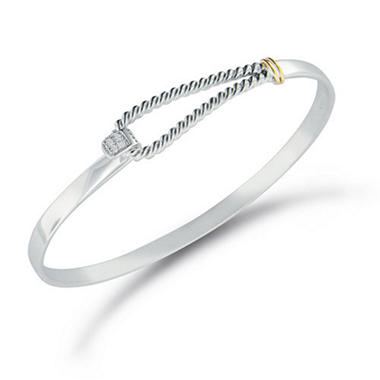 Diamond Accent Twist Bangle Bracelet in Sterling Silver & 14K Yellow Gold