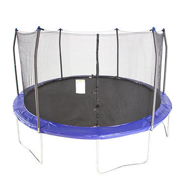 15' Round Trampoline and Enclosure Combo - Royal Blue