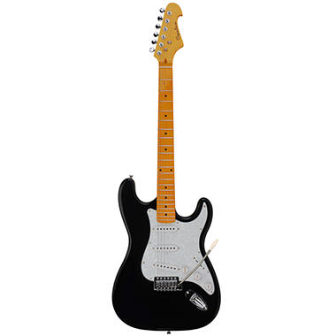 Spectrum AIL 90BP ? Solid Body Full Size ST Style Electric Guitar ? Black with Pearlized Pick guard