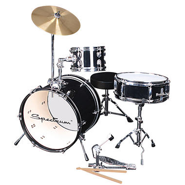 Spectrum AIL 652BK ? 3 Piece Junior Drum Set ? Midnight Black Finish