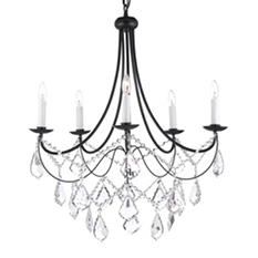 Harrison Lane Versailles Wrought-Iron and Crystal 5-Light Chandelier