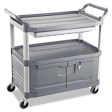 Rubbermaid Xtra™ Instrument Cart with Doors & Sliding Drawer - Gray