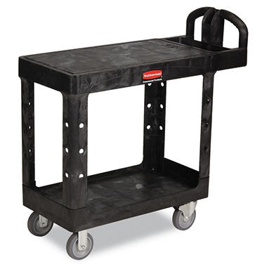 Rubbermaid Flat Shelf Utility Cart, Small - Black