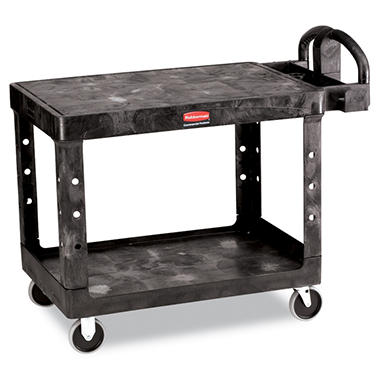 Rubbermaid Flat Shelf Utility Cart, Medium - Black
