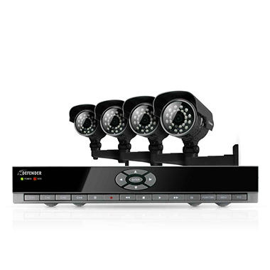 Defender 4CH H.264 Smart DVR Security System with 4 Enhanced Night Vision Cameras