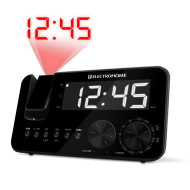 Electrohome® Projection Clock Radio Dual Alarm & Battery Backup