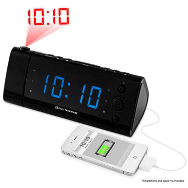 "Electrohome USB Charging Alarm Clock Radio w/ Time Projection, Battery Backup, Auto Time Set, Dual Alarm, 1.2"" LED Display for Smartphones & Tablets"
