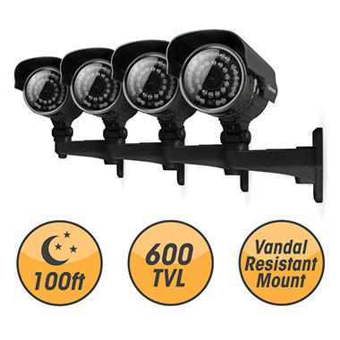 Defender 4x Ultra High-Res 600TVL 100ft Night Vision Indoor/Outdoor Surveillance Cameras
