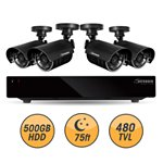 Defender Connected 4Ch 500GB DVR with 4 x 480TVL 75ft Night Vision Indoor/Outdoor Surveillance Cameras