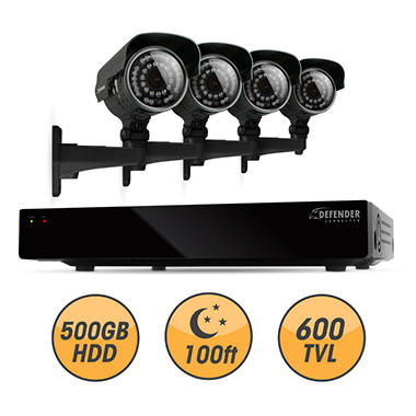Defender Connected 4Ch 500GB DVR with 4 x 600TVL 100ft Night Vision Indoor/Outdoor Surveillance Cameras