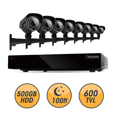 *$329 after $120 Tech Savings* Defender 8 Channel Security System with 500GB Hard Drive, and 8 600TVL 100' Night Vision Indoor / Outdoor Cameras