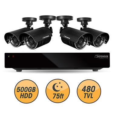 Defender Connected 8Ch 500GB DVR with 4 x 480TVL 75ft Night Vision Indoor/Outdoor Surveillance Cameras