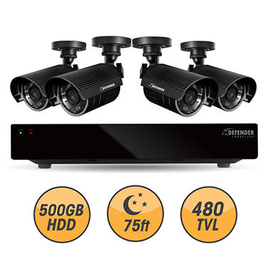 Defender Connected 8Ch 500GB DVR with 4 x 480TVL 75ft Night Vision Indoor/Outdoor Surveillance Cameras