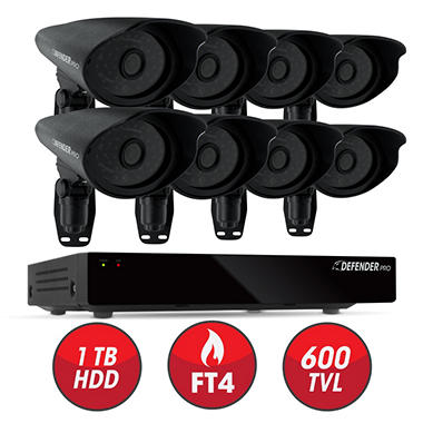 *$374 after $125 Tech Savings* Defender 8 Channel Security System with 1 TB Hard Drive, 8 600TVL High-Res Outdoor Cameras, 110' Night Vision