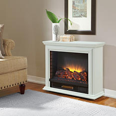 Pleasant Hearth Sheridan Mobile Fireplace - White
