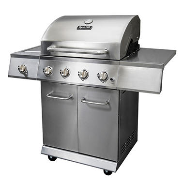 Dyna-Glo Stainless Steel 52,000 BTU 4 Burner LP Gas Grill with Side Burner